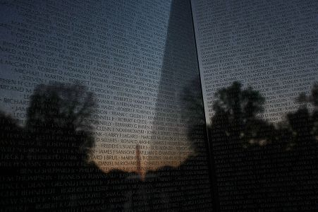 Some of the more than 53,000 names of U.S. causalities carved into the Vietnam Veterans Memorial are shown in Washington, D.C.(Photo by Win McNamee/Getty Images)