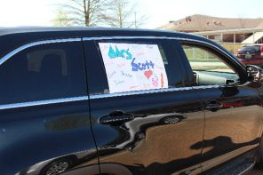 Messages on the cars of Indian Valley Elementary School faculty and staff send loving thoughts to the school's students. (contributed)