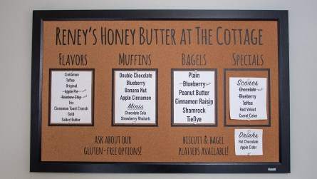 Simmerman says flavor choices vary depending on the season, but always include Cinnamon Honey Butter, Toffee Honey Butter and her Original Sweet Honey Butter. (Dennis Washington / Alabama NewsCenter)