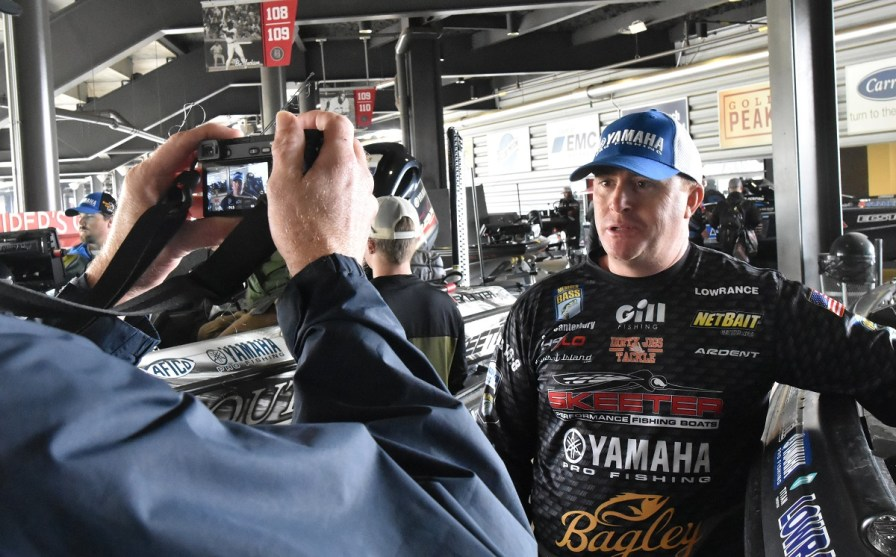 Scott Canterbury of Odenville is interviewed at Bassmaster Classic media day. (Solomon Crenshaw Jr./Alabama NewsCenter)