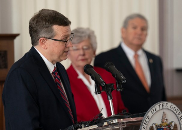 State Health Officer Dr. Scott Harris speaks at the press conference. (Hal Yeager/Governor's Office)