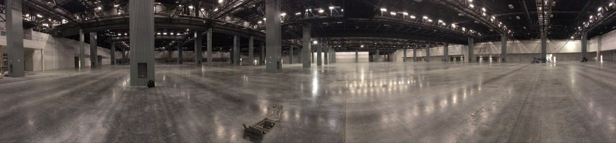 The bare bones of Miami Beach Convention Center awaits its transformation into a field hospital by Birmingham's Robins & Morton construction company. (contributed)