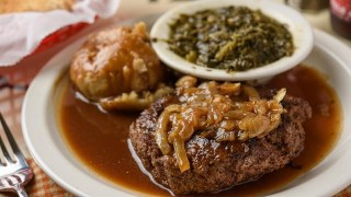 Hamburger Steak at Time to Eat one of 100 Dishes to Eat in Alabama