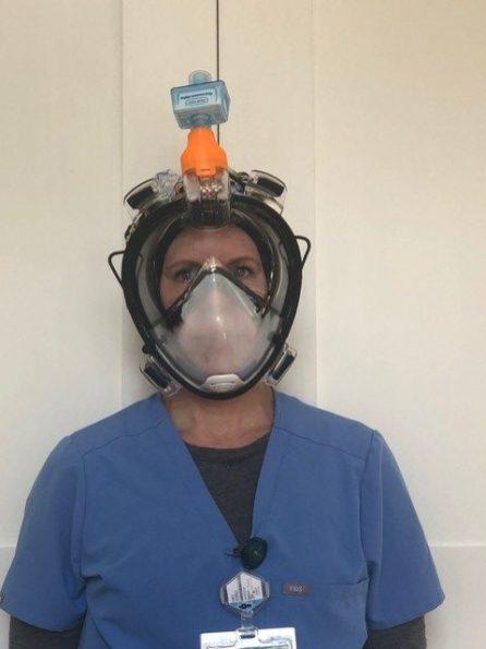 Altamont student Noah Warren produced a 3D-printed adapter to convert full-face snorkel masks into reusable medical masks. (Image courtesy of Altamont School)