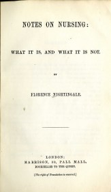 """The title page of Florence Nightingale's """"Notes on Nursing,"""" published in 1859 and still in print. (Courtesy of the Reynolds-Finley Historical Library, the University of Alabama at Birmingham)"""