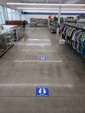 Alabama Goodwill locations will have directional signs to guide shoppers through the store and at the cash registers to encourage social distancing. (Alabama Goodwill Industries)