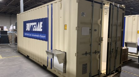 The Battelle Critical Care Decontamination System is able to process 80,000 N95 respirators per day. (Mark Jerald / Alabama NewsCenter)