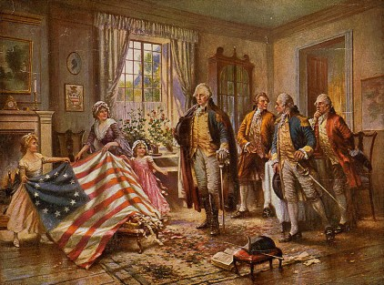 Painting titled The birth of Old Glory, by Percy Moran. (Library of Congress)
