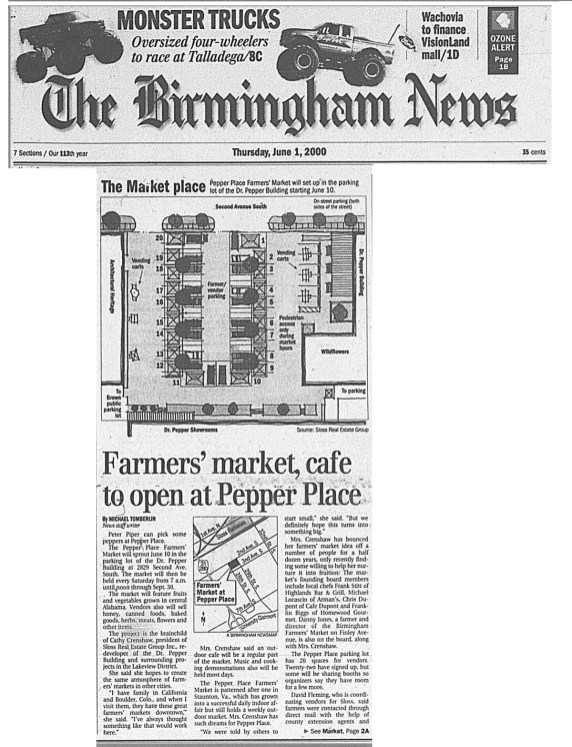 A newspaper clipping from 2000 reports on the launch of the Market at Pepper Place. (contributed)