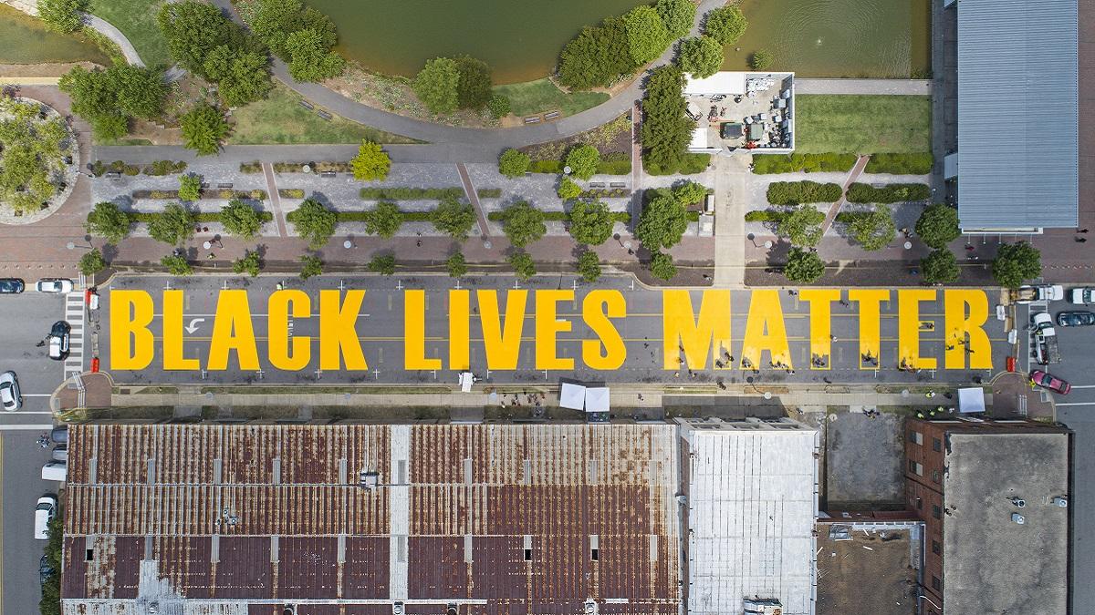 Black Lives Matter street painting complete at Birmingham Railroad Park