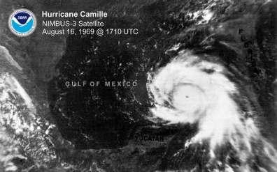 Hurricane Camille on Aug. 16, 1969. (NOAA)