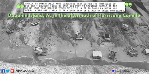 Damage on Dauphin Island from Hurricane Camille in 1969. (National Weather Service-Mobile)