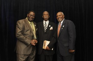 Commemorating 50 years of integration at Auburn University in 2013 are, from left, James Owens, Harold Franklin and Thom Gossom Jr. (Auburn University)