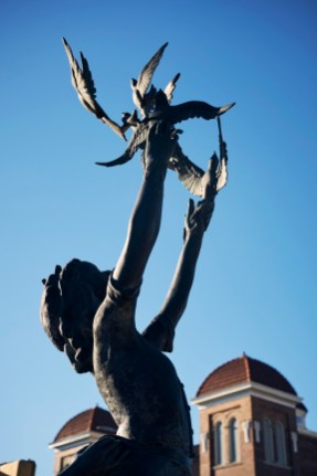 A statue near 16th Street Baptist Church honors the four girls killed by a bomb in 1963. (Alabama Power Foundation)
