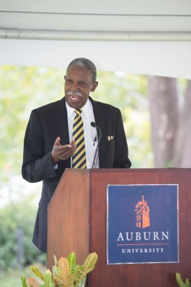 Harold Franklin speaks in 2015 at the dedication ceremony of a marker commemorating the 1964 desegregation of Auburn University. (Auburn University)