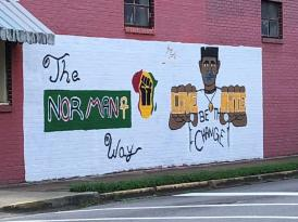 Artist Sai St. John painted this mural in Gadsden in support of the Black Lives Matter movement. (Theresa Helms / Alabama NewsCenter)