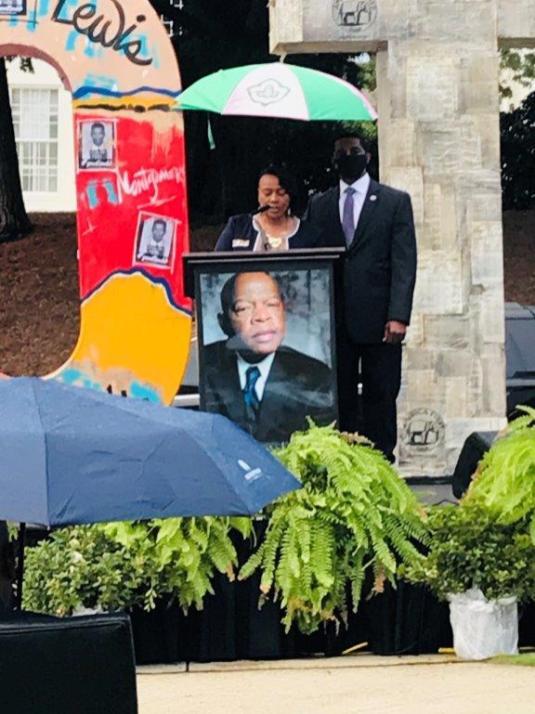 Rev. Bernice King speaks at a ceremony honoring John Lewis in Montgomery. (Kimberly Marlyland / Alabama NewsCenter)