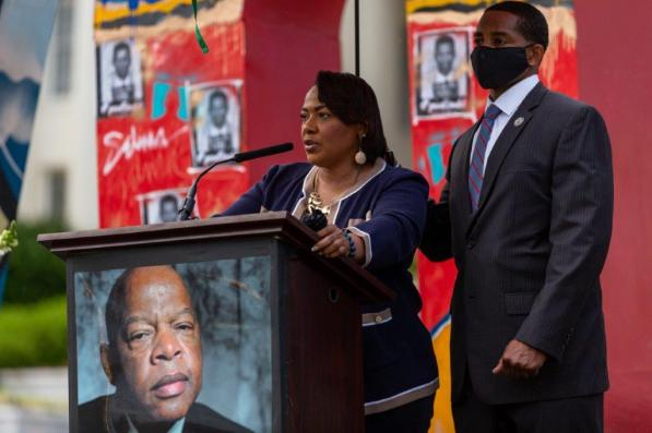Rev. Bernice King, daughter of the late Dr. Martin Luther King Jr., speaks at a ceremony honoring John Lewis in Montgomery. (Getty Images)