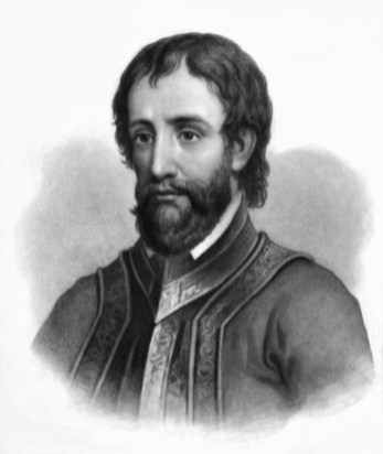 An engraving of Hernando de Soto by Jahn Sartain published in The Life, Travels and Adventures of Ferdinand de Soto by Lambert A. Wilmer in 1858. (Wikipedia)
