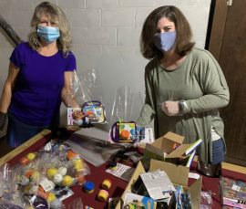 Carol Grigsby (left) and Melissa Ledbetter are longtime volunteers for Playtime Extravaganza. (Donna Cope / Alabama NewsCenter)