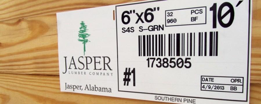 Jasper Lumber tag
