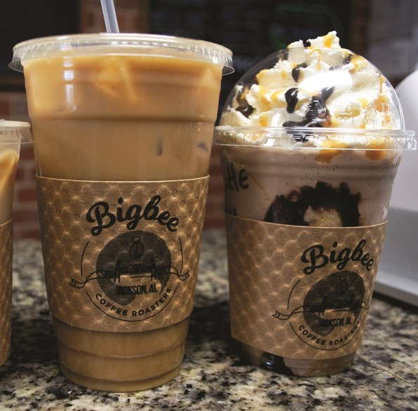 Bigbee Coffee Roasters sells a variety of coffee drinks, including cold ones. (Allison Law/Alabama Living)