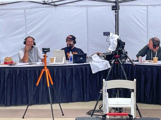 Before teeing off in the pro-am, Alabama football coach Nick Saban talks with Rick and Bubba on their nationally syndicated radio show. (contributed)