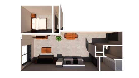 A floor plan in Market Lofts on Third under development in the former American Red Cross building (Hendon and Huckestein Architects)