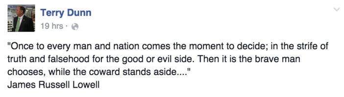 Terry Dunn Facebook post_6 Nov 2015