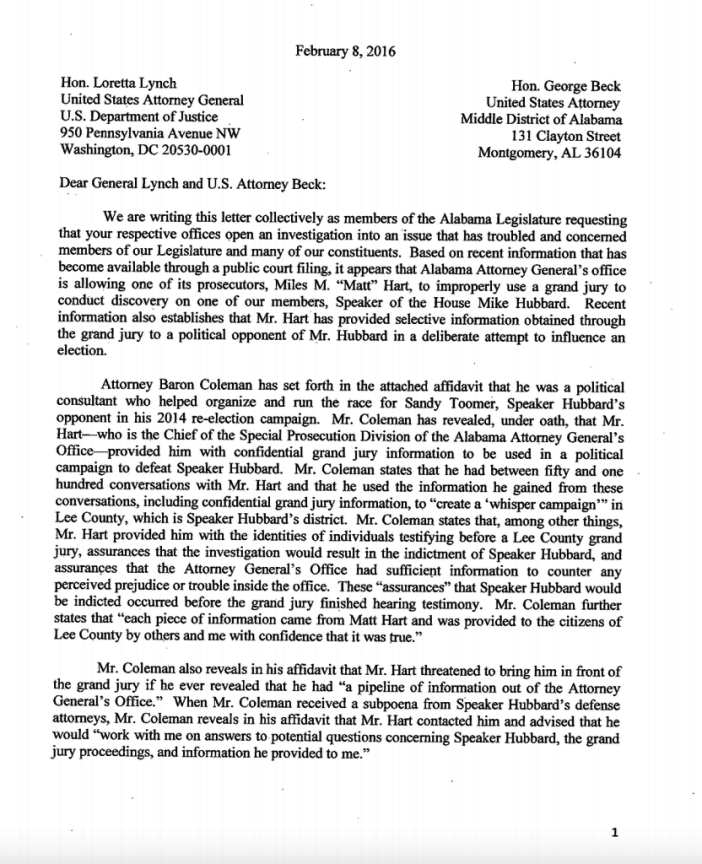Loretta Lynch letter on Mike Hubbard