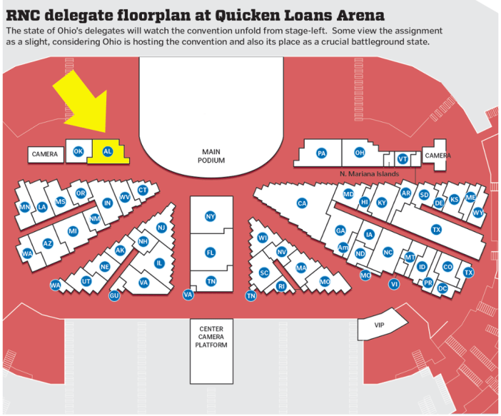 Alabama in the GOP Convention Floorplan