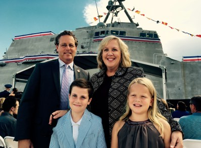 Ronda and her husband Jason, and two of their children, Eli and Margaret at the USS Montgomery commissioning, Sept. 10, 2016. [Photo Credit: Ronda M. Walker]