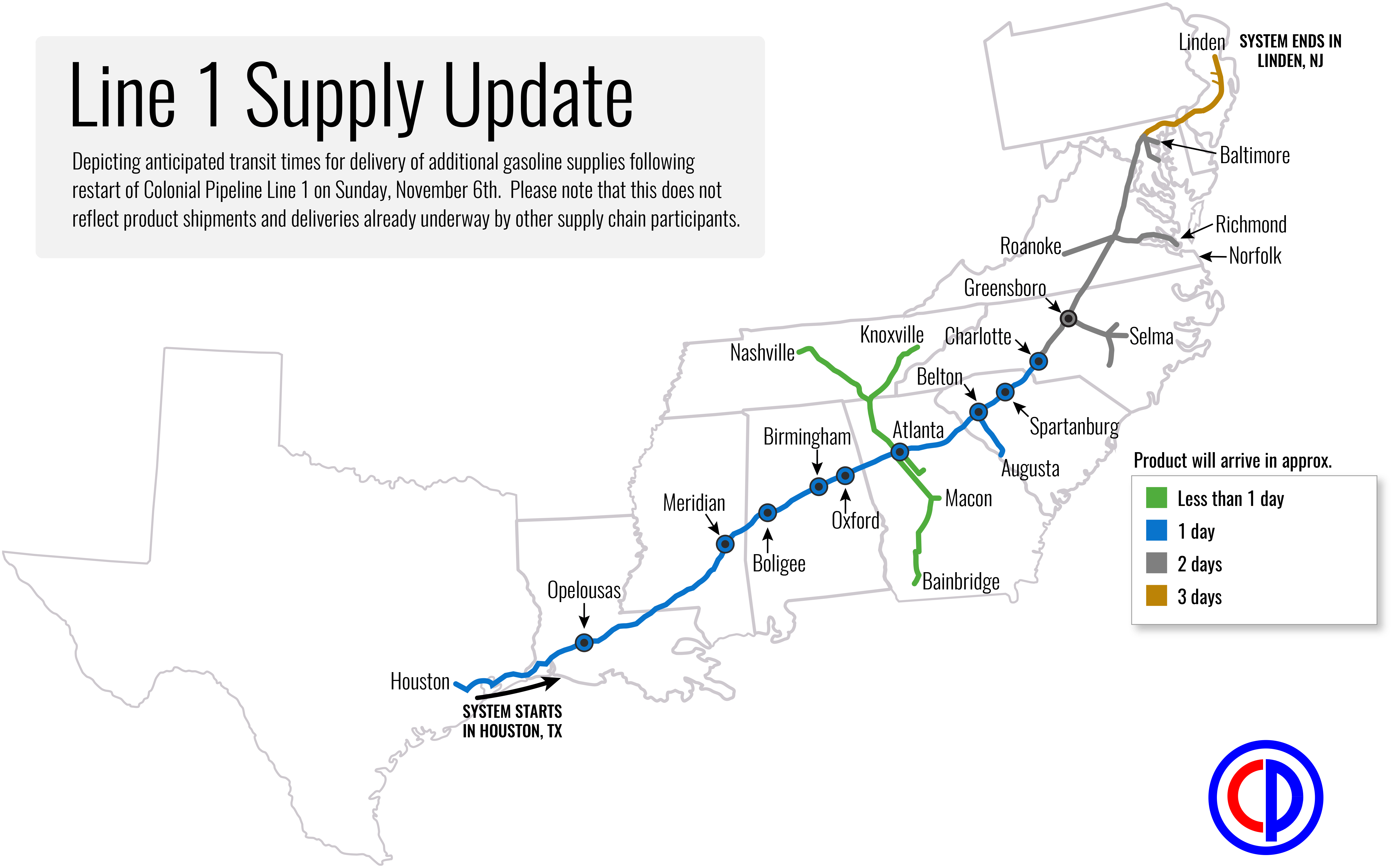 colonial_pipeline_line_1_supply_update_110616 a map of the colonial system