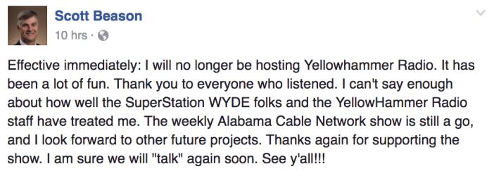 Beason leaving Yellowhammer Radio