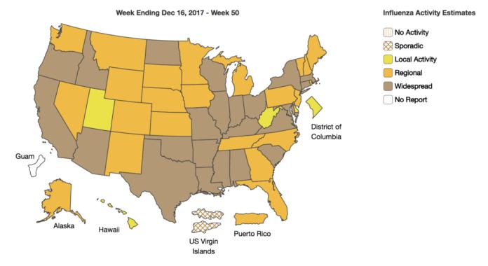 CDC Influenza map_week 50 2017