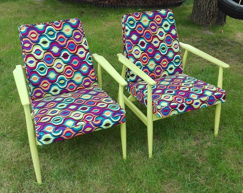 Fotele PRL - kolorowe po metamorfozie