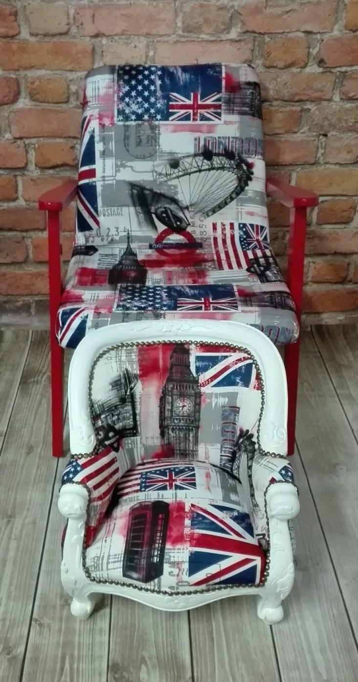 Fotele z tapicerką z motywami londyńskimi