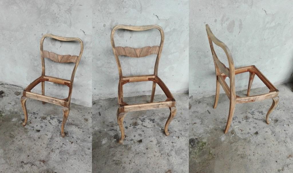 Renowacja starych krzeseł art deco - orzechowy fornir