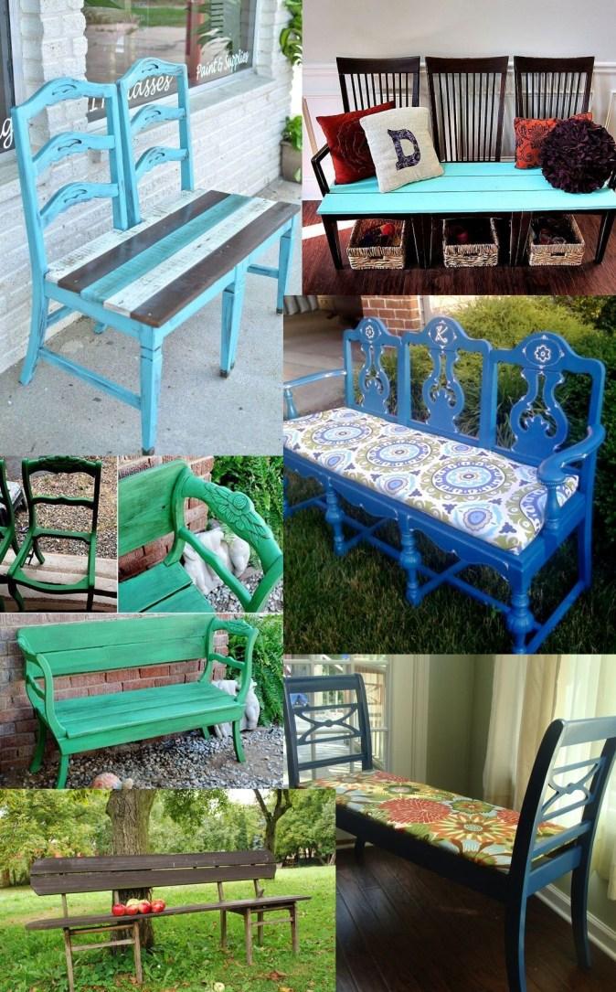 Ławka zrobiona ze starych krzeseł - inspiracje