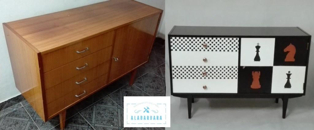 Metamorfoza szafki PRL na wysoki połysk sideboard
