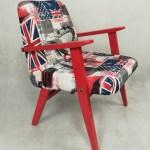 Fotel PRL z londyńską tapicerką