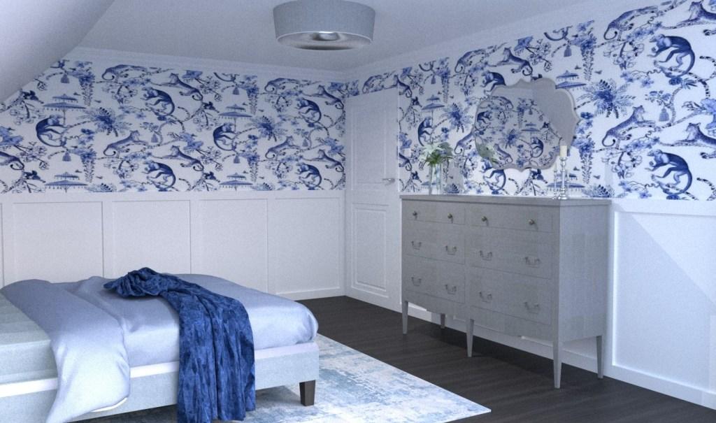 Styl nowojorski, styl hampton we wnętrzach sypialnia