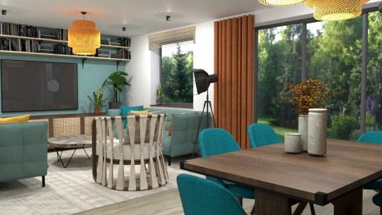Projekt salonu w stylu eklektycznym - nowoczesnym