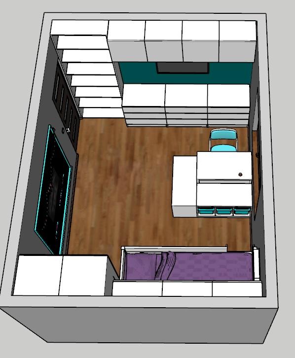Projekt pokoju dziecięcego - dużo szafek