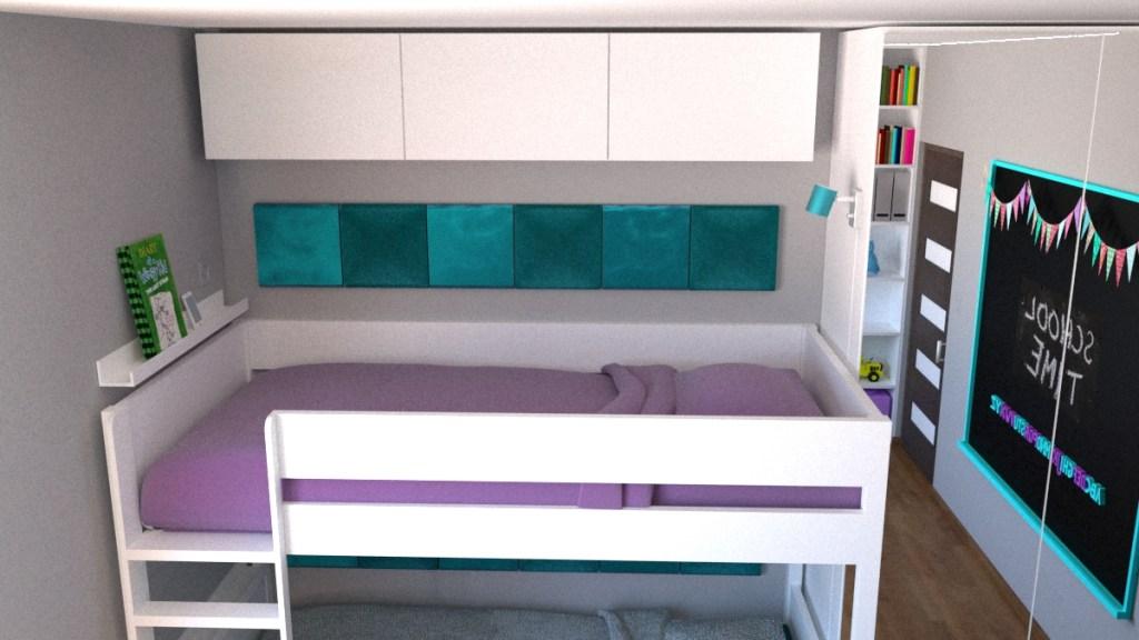 Szafki nad łóżkiem piętrowym pod sufitem