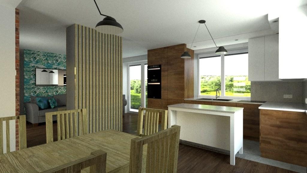 Aranżacja salonu z kuchnią w stylu modern loft indutrialnym