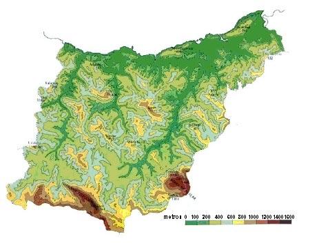 Mapa topográfico de Gipuzkoa