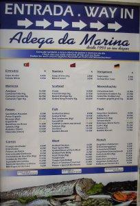 portugál étlap étterem