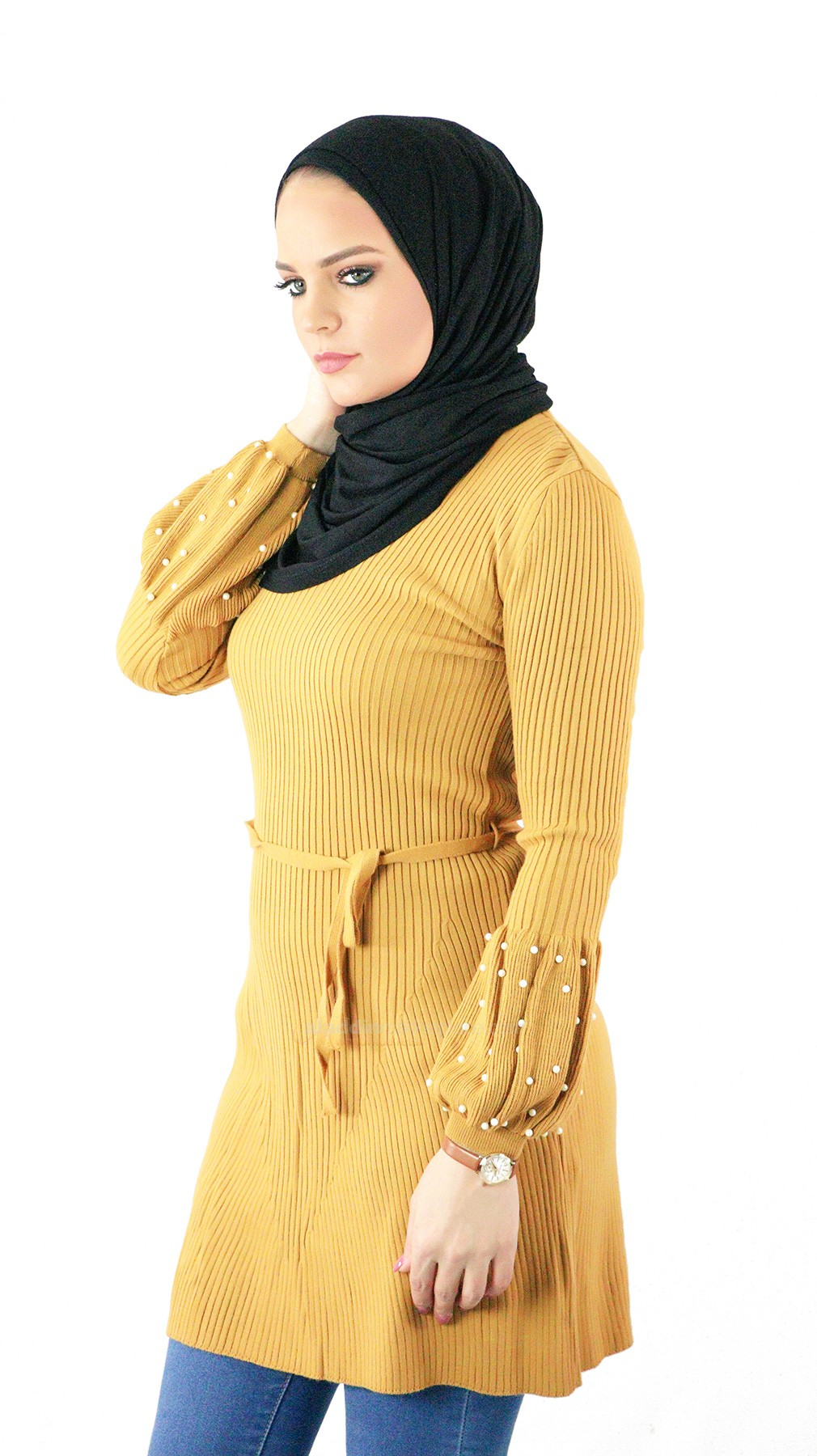 Gurkan Tunic Sweater with Pearls