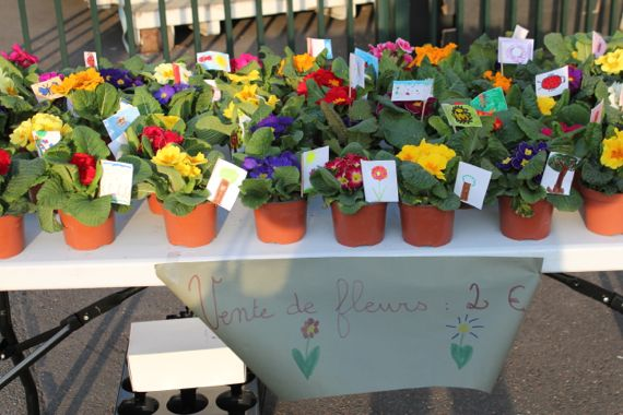 Spring carnival. Flowers for sale.